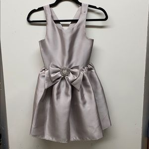 Zunie girls silver gray bow party dress sz 7